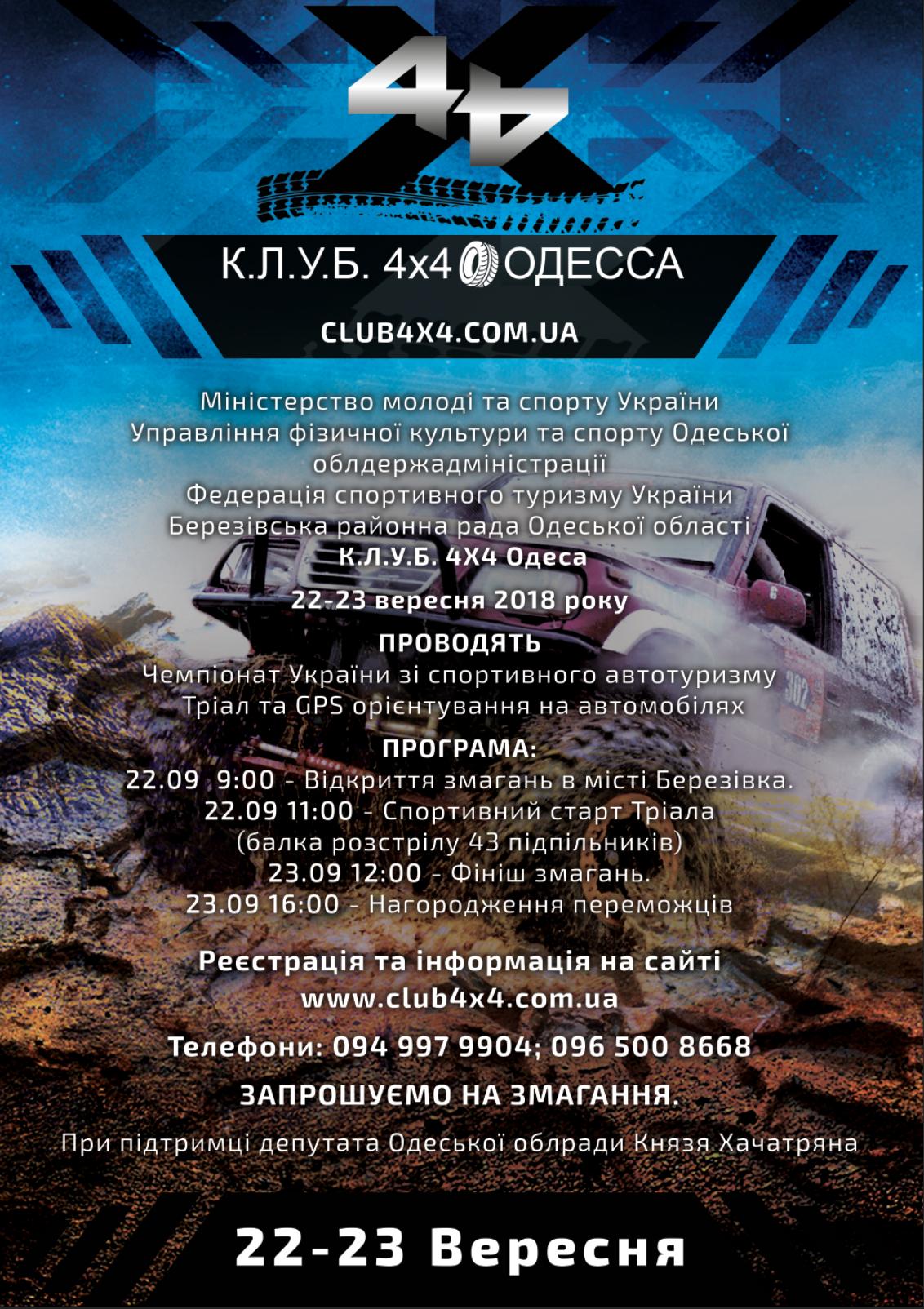 Открыта регистрация на Чемпионат Украины по спортивному авто-мото туризму 2018